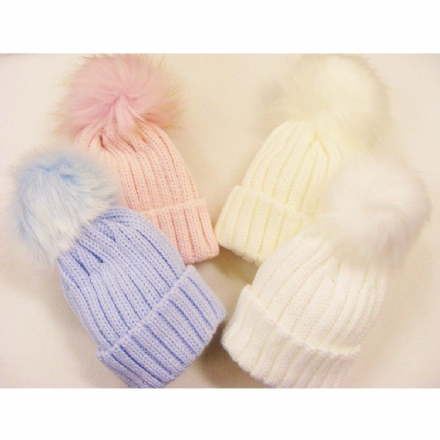 Pastel Ribbed Hat with Faux Fur Pom Pom
